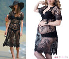 Womens Sexy Black Long Lace Kimono Night Pregnancy Maternity Summer Beach Dress