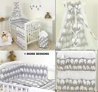 GREY ELEPHANT- BABY BOY - GIRL - BEDDING SET COT or COT BED SIZE+MORE DESIGNS