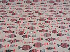 Red Funky Fishes Linen Look Beige Cotton Fabric Curtain Upholstery Craft