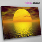 SC067 Yellow Ocean Sunset Scenic Wall Art Picture Large Canvas Print