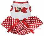 Valentine Leopard Love White Top Minnie Dots Tutu Pet Dog Dress Puppy Clothes
