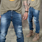 NewStylish Mens Bottoms Casual Pants Distressed Damage Straight Jeans