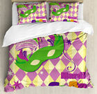 Mardi Gras Queen Size Duvet Cover Set Stars Graphic Mask with 2 Pillow Shams