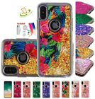 iPhone X Hybrid Liquid Glitter Bling Quicksand Rubber Protector Case Cover +Disc