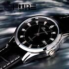 Vintage Stainless Steel Calendar Dial Leather Men's Business Quartz Wrist Watch