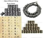 24pcs Different Kinds of Viking Rune Beads For DIY Jewelry or Hair Beard 13*10mm