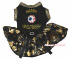 Happy Halloween Eyeball Black Top Gold Pumpkin Cobweb Tutu Pet Dog Puppy Dress