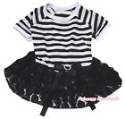 Halloween Plain Striped Top Black Romantic Rose Tutu Pet Dog Dress Puppy Clothes