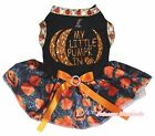 Halloween Black Top Bling My Little Pumpkin Spider Web Tutu Pet Dog Puppy Dress