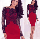 US STOCK Women Sexy Lace Cocktail Evening Party Business Bodycon Pencil Dress