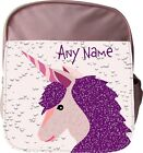 PERSONALISED UNICORN FACE KIDS CHILDS SCHOOL RUCKSACK BACKPACK RED PINK BLUE