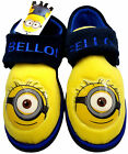 BOYS CHARACTER DESPICABLE ME MINION SLIPPERS SHOES,STRAP FASTENING SIZES 6-12