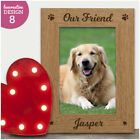 Personalised Engraved Paw Print Wooden Photo Frame - Pet Dog Cat Photo Frame