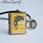 Alice's Adventures in Wonderland Book Locket Charm, Keychain or Pendant Necklace