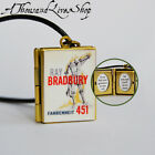 Fahrenheit 451 Book Locket (quote inside) Charm, Keychain or Pendant Necklace