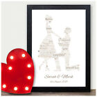 Engagement Personalised Word Art Typography Prints Gifts for Couples Fiance Love