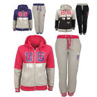 GIRLS TRACKSUIT KIDS FULL SET JOGGING FLEECE ZIP HOODED HOODIE TOP GYM BOTTOM
