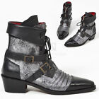 NewStylish Mens Shoes Distressed Silver Leather Vampire Western Ankle Boots