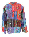 New Unisex Patchwork Hippie Shirt Long Sleeve Light Cotton Kurta up to Plus Size