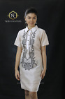Filipiniana Embroidered Barong Silk Dress Philippines Terno Maria Clara - Beige