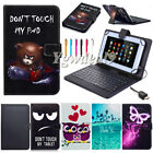 """For Amazon Kindle Fire 7"""" 8"""" 10"""" Tablet Micro USB Leather Keyboard Case Cover"""