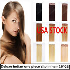 USA STOCK! 26inch Indian Remy Human One Piece Volumizer Clip In Extensions 60g