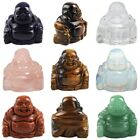 Carved Happy Laughing Buddha Figurine Stone Crystal Statue Home Decor Feng Shui