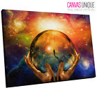 AB682 Trippy Orange Space Orb Abstract Canvas Wall Art Framed Picture Print