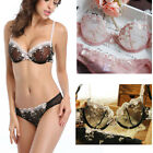 Uk Unlined Sexy Transparent Lace Bra and Panty Set Wired Push Up Bra Set ABCDDDE