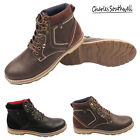Mens Faux Leather Casual Chukka Lace Walking Desert Ankle Boots Shoes Boys Size