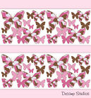 Внешний вид - Pink Camo Butterfly Wallpaper Border Wall Art Decals Girl Camouflage Stickers