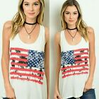 White American Flag Tank Top with Palm Trees USA Shirt Size SMALL S
