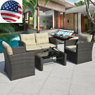 Outdoor 4pcs/set Rattan Sofa Deluxe Furniture Patio Garden Cushioned Seat Wicker