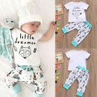 0-24M 2PCs Outfits Newborn Infant Baby Girl Boys Cute T-shirt Tops+Pants Clothes
