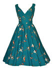 Vintage 50's Style Teal Bird Flared Rockabilly Bridesmaid Tea Dress New 10 - 22