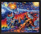 Harry Potter Inspired Dragon Hogwarts Castle Van Gogh Starry Night Decor A002