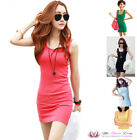 SALE Womens Summer Sexy Casual Stretchy Beach Tank Vest Sleeveless Mini Dress