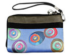 Hand Painted Silk Women's Clutch Strap Wallet Bag in Circles by Invisible World