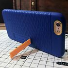 Apple iPhone 6 6S Rugged Protective Kick Stand Case Blue & Yellow Textured Cover
