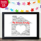Unusual Personalised New Home First House Warming Gift Word Art Print For Family