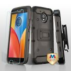 Motorola Moto E4 PLUS Hybrid Armor Rugged Hard Case Cover Clip Holster + Screen