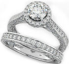 2.5CT ROUND CUT DIAMOND 925 SILVER 2 PIECE ENGAGEMENT BRIDAL RING SET CR1-L8 ∆