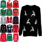 Womens Ladies Christmas Xmas Chunky Knitted Reindeer Crew Neck Pullover Jumper