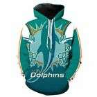 Miami Dolphins printed Pullover Pocket Sport hoodies Hat M-6XL 2184