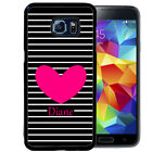 PERSONALIZED RUBBER CASE FOR SAMSUNG NOTE 8 5 4 3 BLACK STRIPES HEART