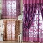 Floral Tulle Voile Door Window Curtain Balcony Drape Panel Sheer Scarf Valances