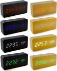 New Voice Control Calendar Thermometer Wooden LED Digital Alarm Clock USB/AAA