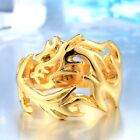Fire Dragon Ring Astrology Zodiac Success Mens 316L Stainless Steel Sizes 6-13