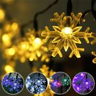 5M 20 LED Snowflake Bling Solar Fairy String Lights Christmas Outdoor Party Mult