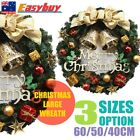 40/50 Golden Bowknot Christmas Wreath Door Wall Xmas Ornament Garland Decoration